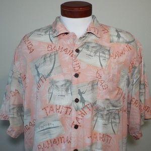 Bermuda Bay 100% Silk Short Sleeve Button …